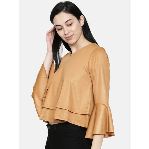 Global Desi Women Gold-Toned Solid A-Line Top