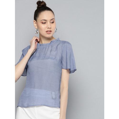 Carlton London Women Blue Sheer Solid Top