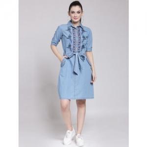 plusS Women Blue Solid Shirt Dress