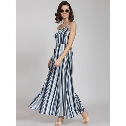 plusS Women Blue Striped Maxi Dress