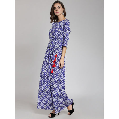 plusS Women Blue Printed Maxi Dress