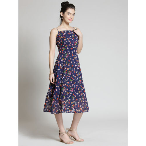 plusS Women Blue Printed Fit and Flare Dress