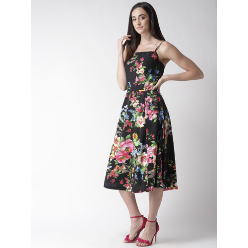 plusS Black & Pink Printed A-Line Dress