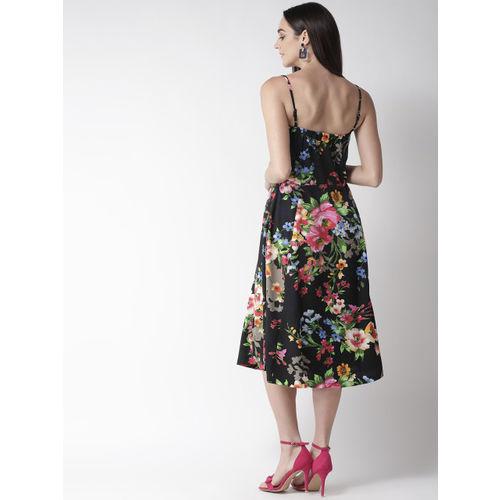plusS Women Black & Pink Printed A-Line Dress