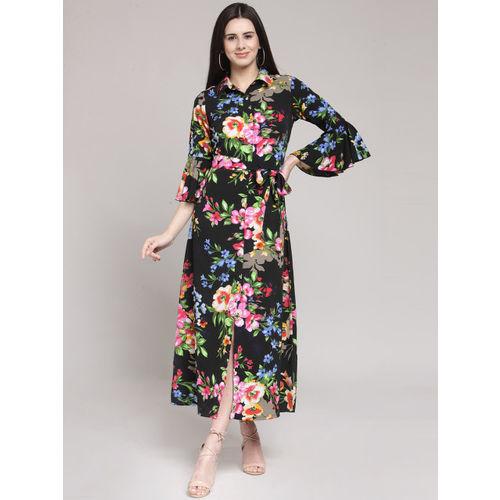 plusS Women Black Printed Shirt Dress