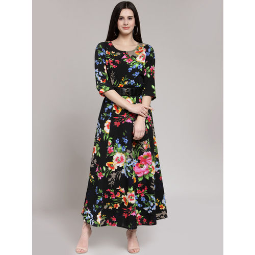 plusS Women Black Printed Maxi Dress