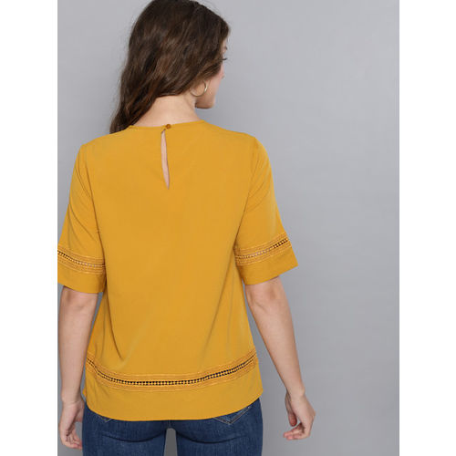 Carlton London Women Mustard Yellow Solid A-Line Top