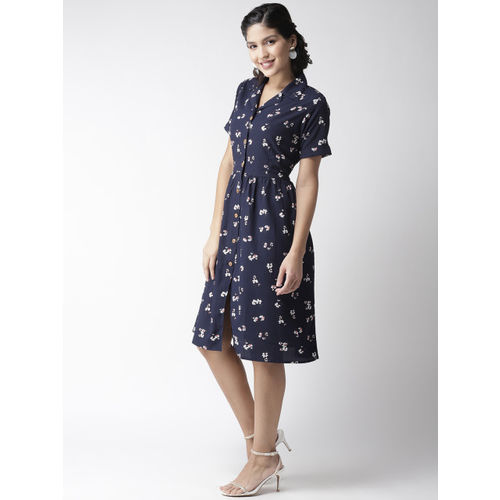 plusS Women Navy Blue White Printed Shirt Dress