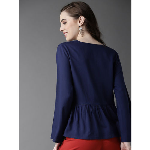 HERE&NOW Women Navy Blue Embroidered A-Line Top