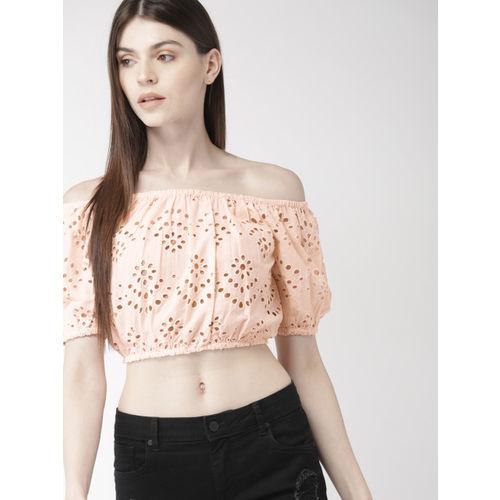 FOREVER 21 Women Peach-Coloured Self Design Cropped Bardot Top