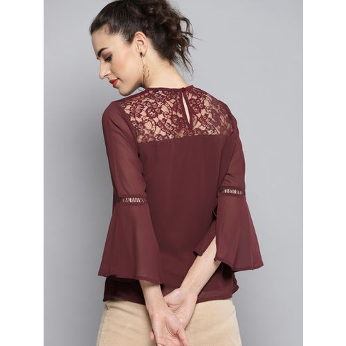 Carlton London Women Burgundy Lace Detail Solid Top