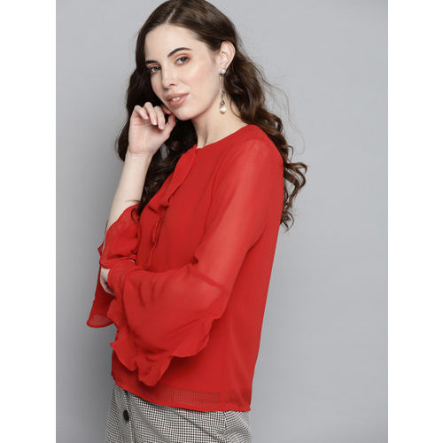 Carlton London Women Red Solid Top