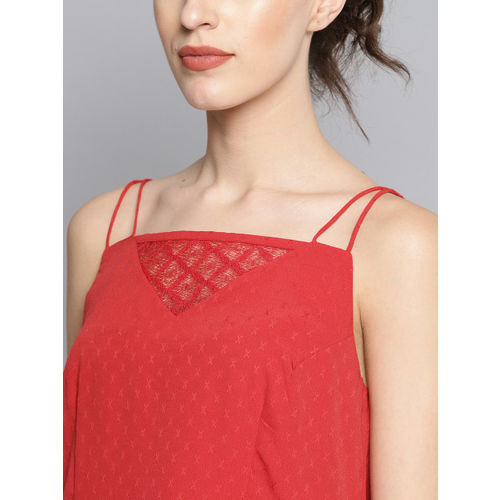 Carlton London Women Red Self Design Tiered A-Line Top