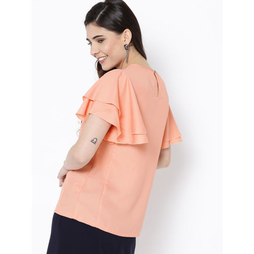 HERE&NOW Women Peach-Coloured Solid Top