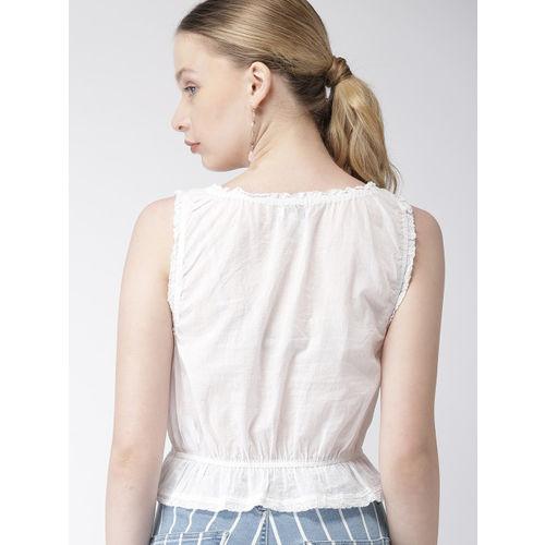 FOREVER 21 Women White Self Design Crop Top