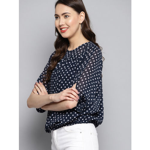 Carlton London Women Navy Blue & White Polka Dots Print Blouson Top