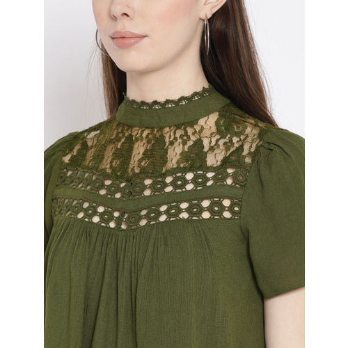 DressBerry Women Olive Green Solid Styled Back Top