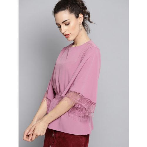 Carlton London Women Purple Solid Cinched Waist Top