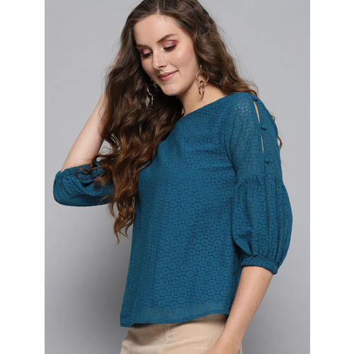Carlton London Women Teal Blue Lace Top