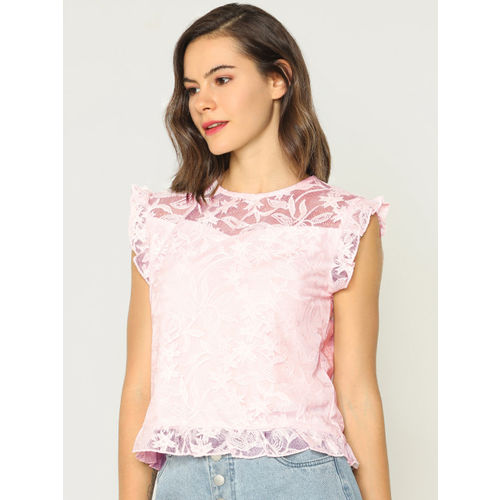 ONLY Women Pink Self Design Lace Top