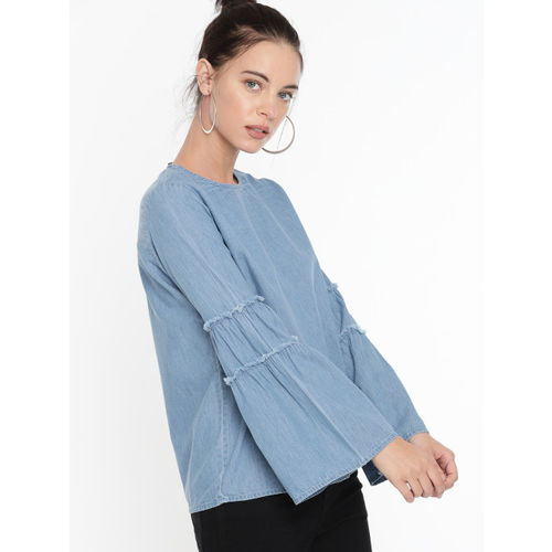 DressBerry Women Blue Solid Chambray Top