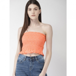 FOREVER 21 Women Peach-Coloured Printed Crop Tube Top
