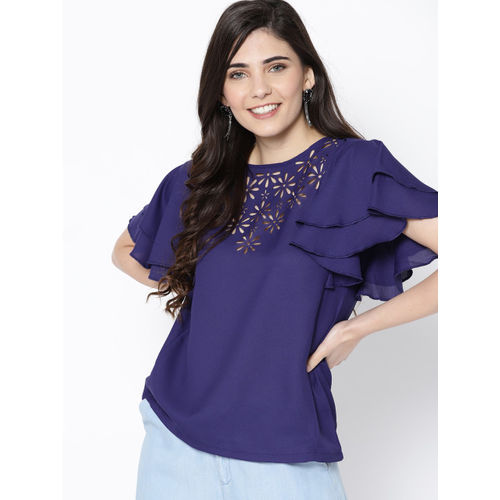 HERE&NOW Women Navy Blue Solid Top