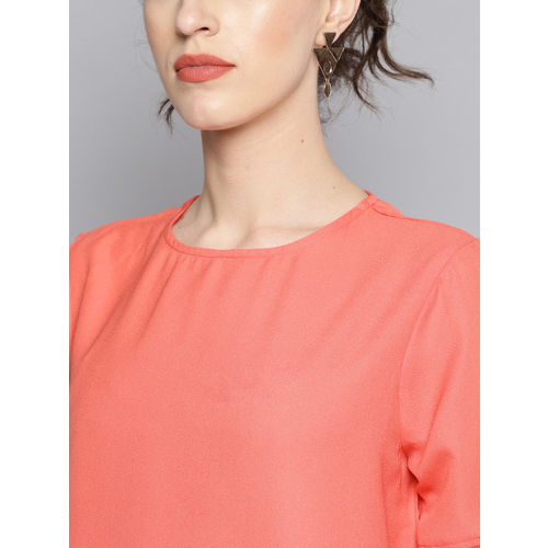Carlton London Women Coral Pink Solid Top