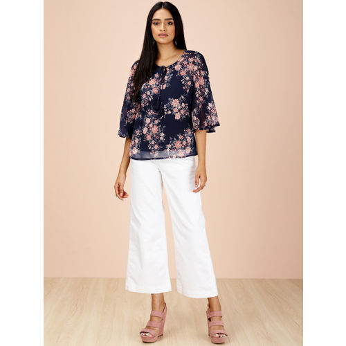 all about you from Deepika Padukone Women Navy Blue Printed Sheer Top