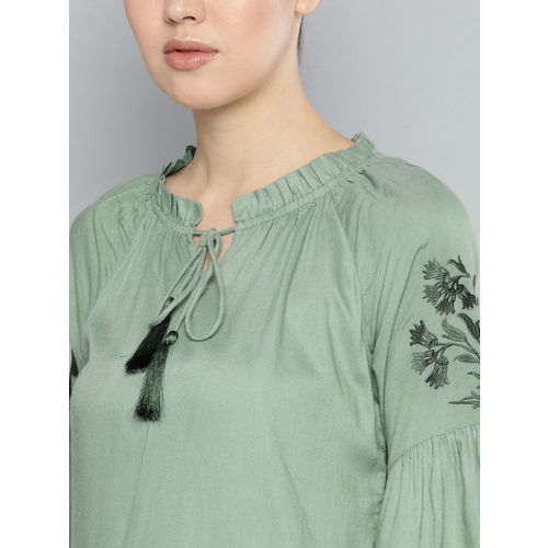 Carlton London Women Green Solid A-Line Top
