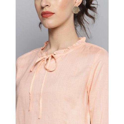 Carlton London Women Peach-Coloured Solid Top