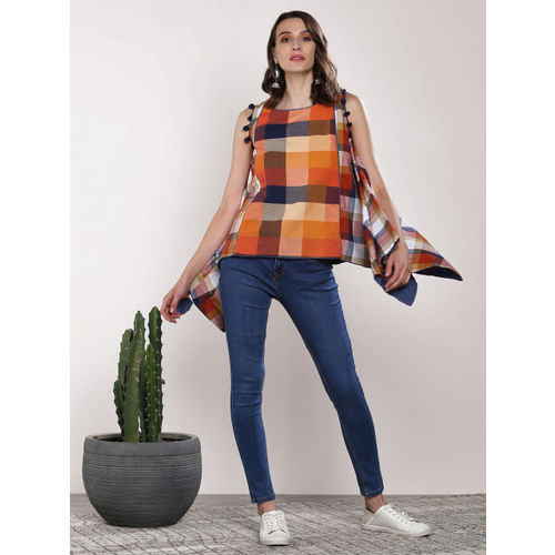 Sangria Women Rust Orange & Navy Blue Checked A-Line Top