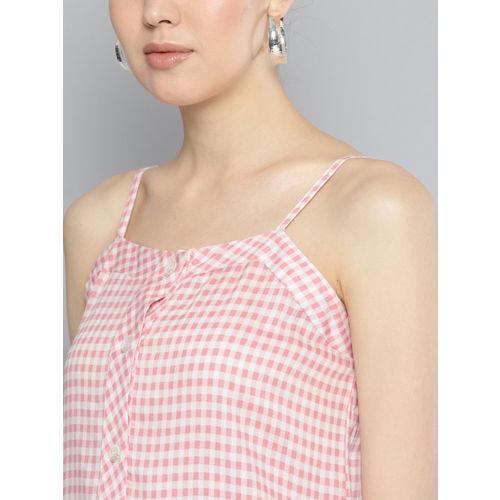 Carlton London Women Pink & White Checked Top