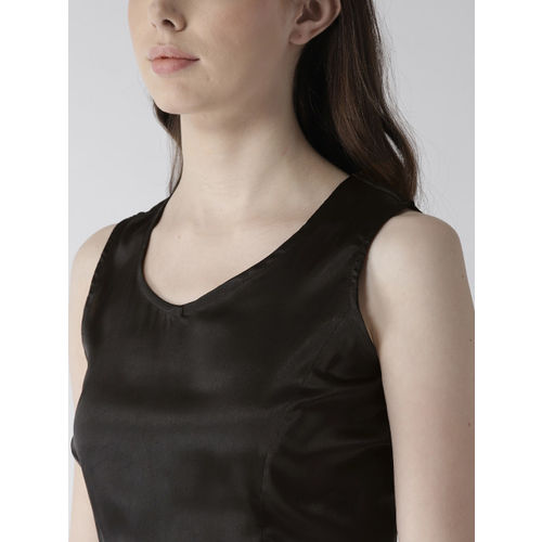 Rue Collection Women Black Solid Satin Finish Crop Top