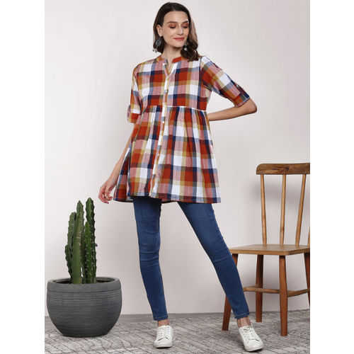 Sangria Women Rust Brown & White Checked Shirt Style Top