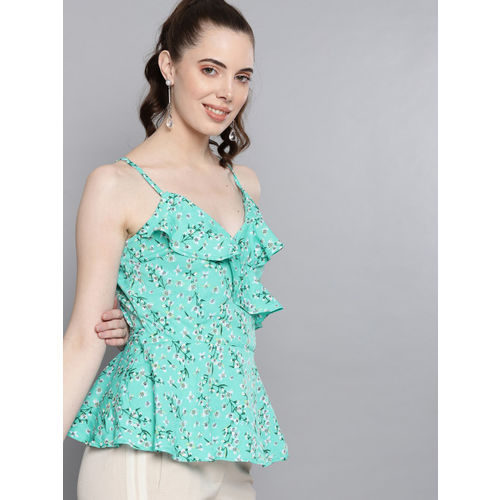 Carlton London Women Sea Green Printed Wrap Top