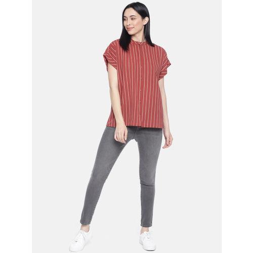 Vero Moda Women Red Striped Boxy Top