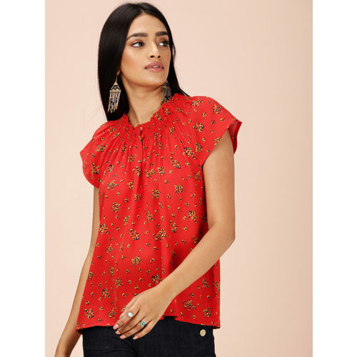 all about you from Deepika Padukone Women Rust Orange Printed Top