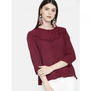 DressBerry Women Burgundy Embroidered Top