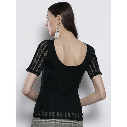 DOROTHY PERKINS Women Black Lace Styled Back Top