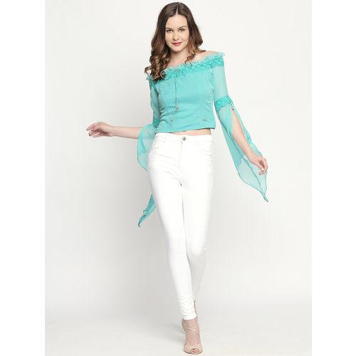 Ira Soleil Women Sea Green Solid Bardot Top