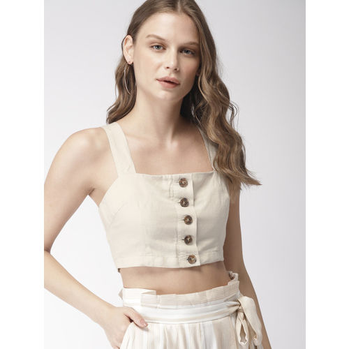 FOREVER 21 Women Beige Solid Cropped Bralette Top