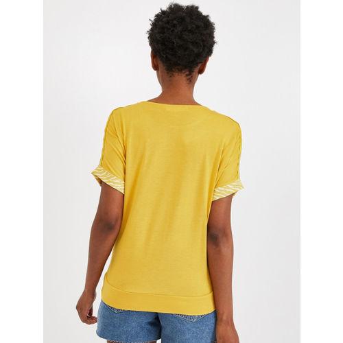 promod Women Mustard Yellow & White Printed Top