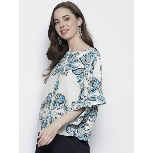 DOROTHY PERKINS Women White & Blue Printed Top