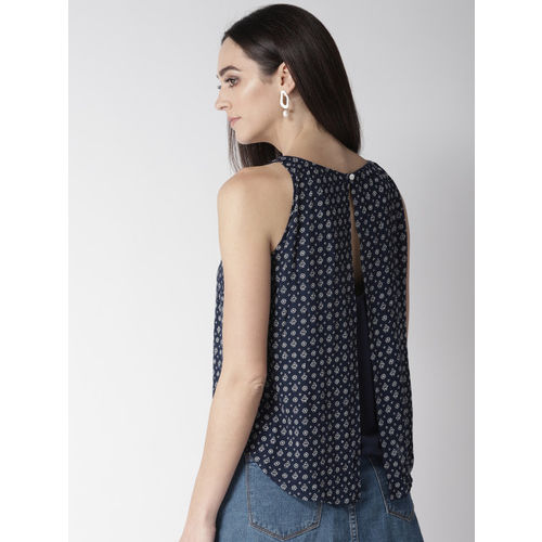 MIWAY Women Navy Blue & Off-White Printed Styled Back Top