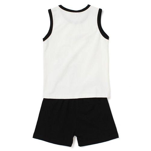 Awabox Dog Printed Sleeveless Tee & Shorts Set - White & Black