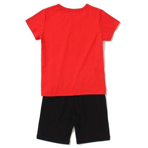 Awabox Half Sleeves Patched Tee & Shorts Set - Orange & Black