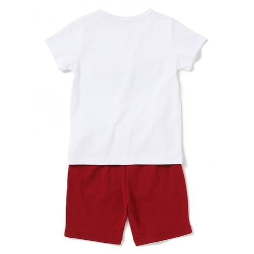 Awabox Half Sleeves Patched Tee & Shorts Set - White & Maroon
