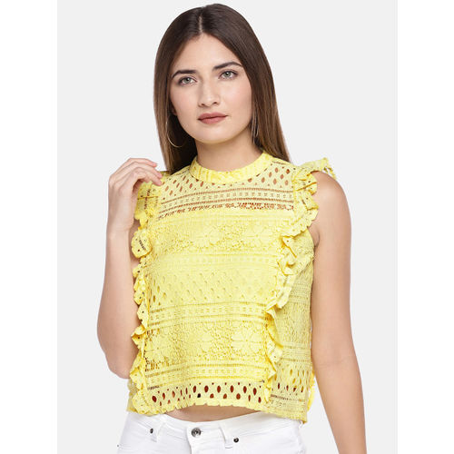 Globus Women Yellow Self Design Boxy Top