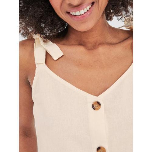 promod Women Cream-Coloured Solid Top